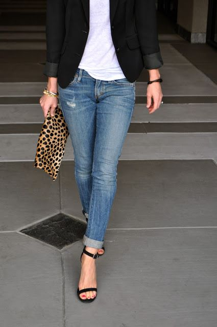 light blue jeans - white tee - black blazer - black sandals - leopard clutch,