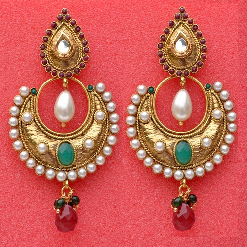 Designer Indian Earrings Bollywood Jewelry Asian Style Pearls Kundan Studded