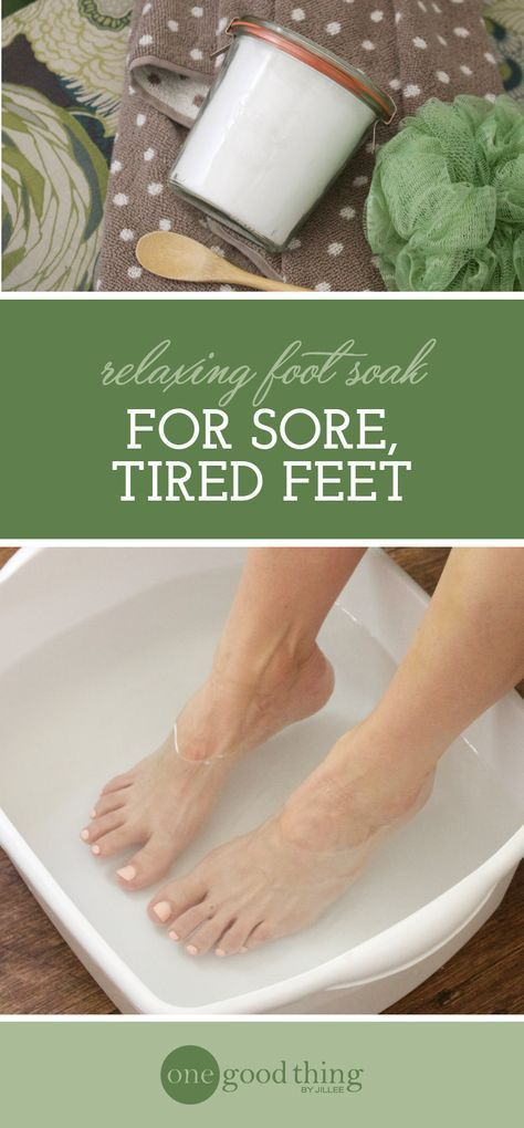 Got tired, sore, or swollen feet? Treat yourself to a relaxing and rejuvenating foot soak. Only three simple ingredients needed!