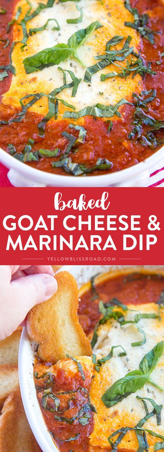 Baked Goat Cheese & Marinara Dip with Crostini - A festive holiday appetizer! via @yellowblissroad