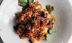 Eat them quick: crisp aubergines with chilli sauce.