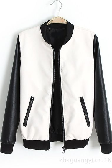 White and Black Woman's Leather Varsity Bomber Jacket