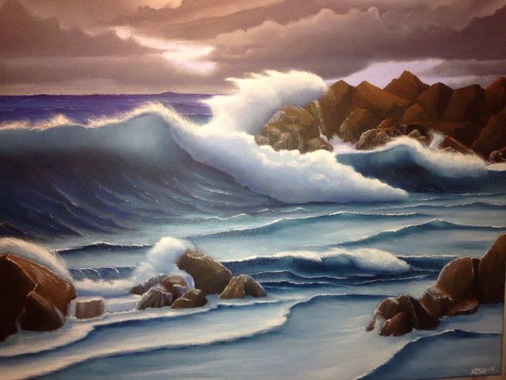 Waves crashing on the rocks psinting | Acrylic Painting in ...