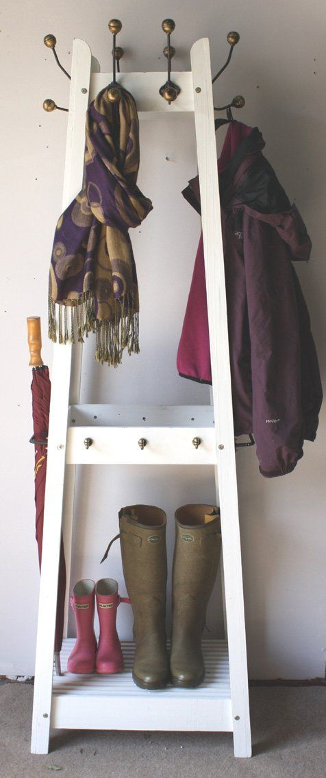 Distressed White Painted Wooden Hat And Coat Stand