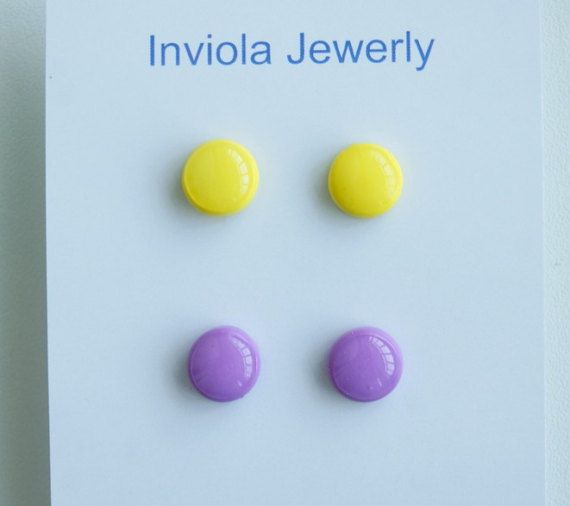 Set 2 clay 10mm Yellow  stud earrings Yellow by InviolaJewerly