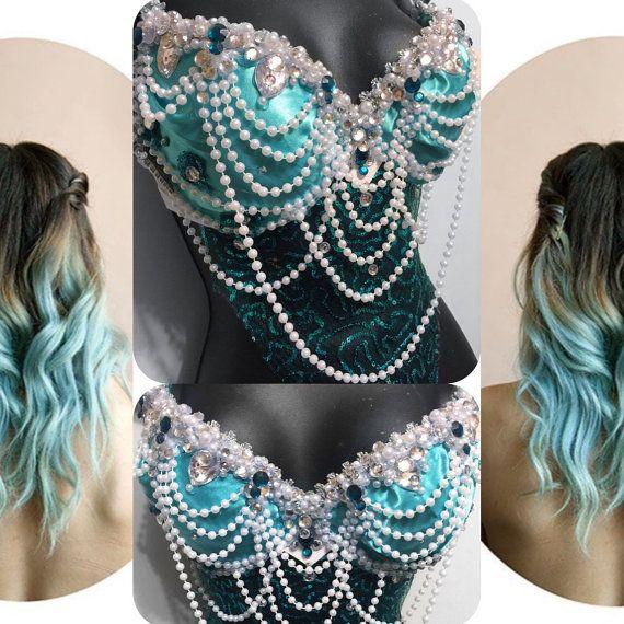 Aqua Mermaid Goddess Bra  rave rave bra von RichMahoganyLife