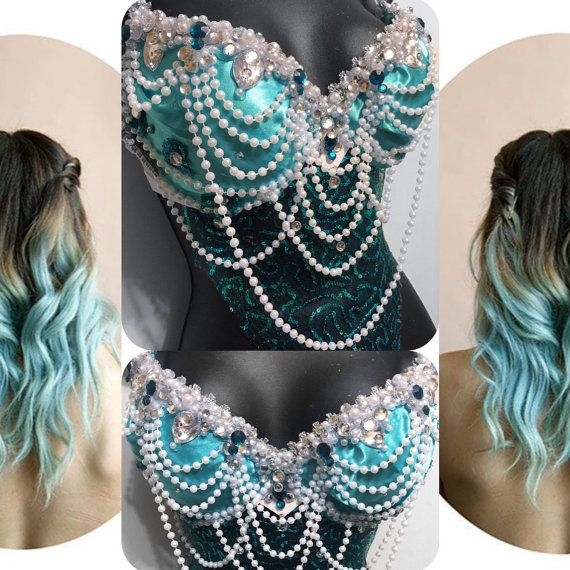 Aqua Mermaid Goddess Bra  rave rave bra von RichMahoganyLife