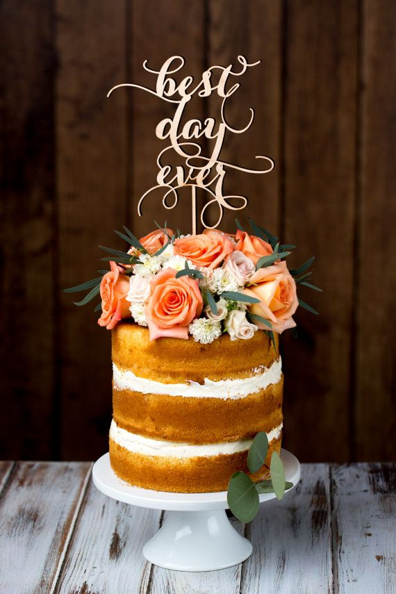Caligrafía Accesorios para Boda / Wedding accessories 'Best Day Ever' cake topper by Better Off Wed