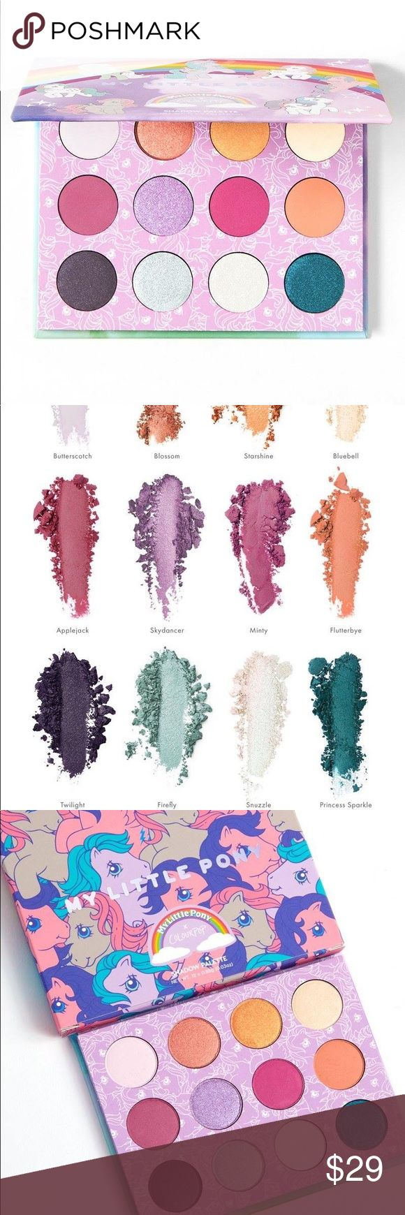 My Little Pony Pressed Powder Shadow Palette Butterscotch: white with subtle pink violet opalescent sheen Blossom:metallic peach with pink and gold duochrome finish Starshine:metallic golden tangerine Bluebell:satin golden ivory Applejack:matte dusty red violet Skydancer:metallic bright icy lavender Minty:matte cool-toned fuchsia Flutterbye:matte true pastel peach Twilight:satin deep blackened violet Firefly:metallic silvery baby blue Snuzzle:metallic icy white with opalescent blue duochrome…