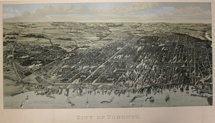 1886 Wesbroom: City of Toronto [Bird's Eye View]. This bird's eye view [...] shows more clearly than either maps or streetscape photographs the congestion of the downtown core and the unrelenting zeal with which the grid pattern of streets—first laid out for Simcoe in 1793—had been stretched across the landscape on either side of the arrow-straight line of Yonge.