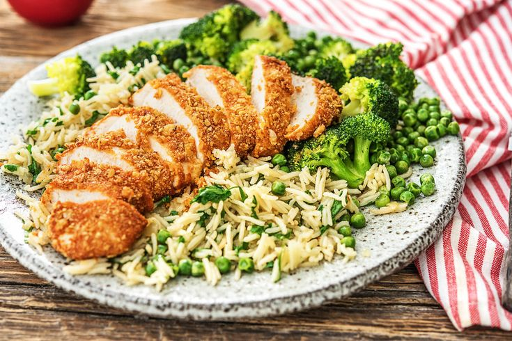 Corn Flake and Honey-Crusted Chicken with Broccoli, Green Peas and Basmati Rice