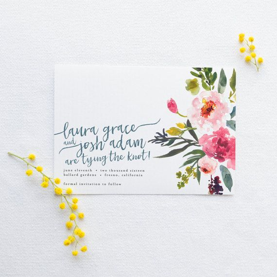 Watercolor Floral Save the Date // Printable, Custom, DIY Wedding // Bright and cheerful, amazingly cute for a Spring or Summer wedding! Love the calligraphy font as well.