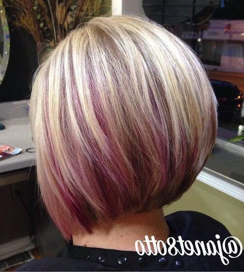 haircuts for to medium length bob with purple peekaboo highlights the color 2322