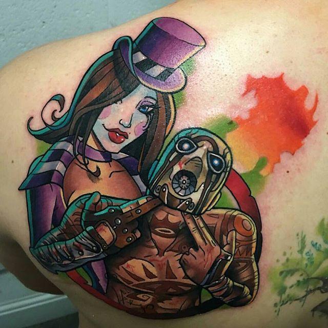 Incredible Borderlands tattoo by @danegrannontattooer from Creative Vandals, Hull. #borderlands #borderlandstattoo #videogametattoo #gametattoo #playstation #xbox #gametattoo Thanks Dane!
