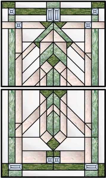 Vertical Stained Glass Window With Traditional Leaded Design and Bevel Accents