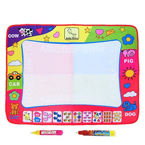 Aqua Doodle Mat, Large Magic Water Drawing Painting Writing Mat Pad Board, 2 Pen Develop Intelligence Sketch Learning Toy Gift for Boys Girls Toddlers Kids Children 4 Color 31.5 X 23.6 Inches D1:   brFeatures:/b brFor age children (Above 2 years old), Writing graffiti canvas blanket baby child educational toys. brInspire your kid's creativity and imagination ; exercise hand-eye coordination & the color perception ability;learning cooperation and exchange with others. brThe foggy letter...