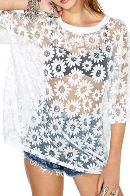 ROMWE | ROMWE Daisy Shaped Embroidered Lace Transparent White Blouse, The Latest Street Fashion