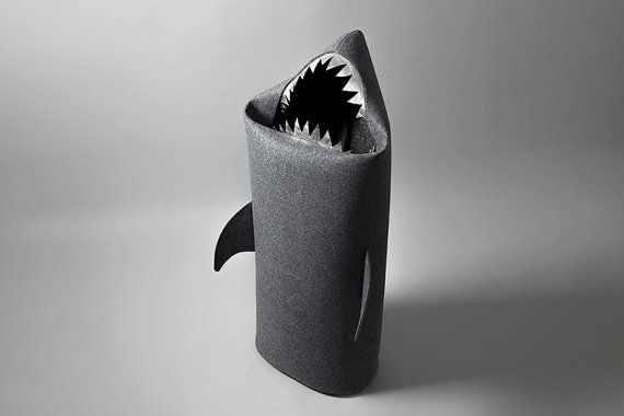 Black Friday! SHARK anthracite. Felt laundry basket for bathroom or children's room as a basket for toys, Christmas gift, shark with silver teeth