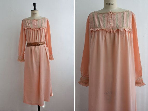 Divine 20s Faint Blush Silk Nightgown with Delicate Lace and Ruffles, Vintage Pastel Pink Lingerie, Silk Dress