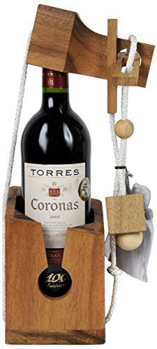 Vintage Marque Wooden Wine Puzzle with Bottle of Torres Coronas 75 cl
