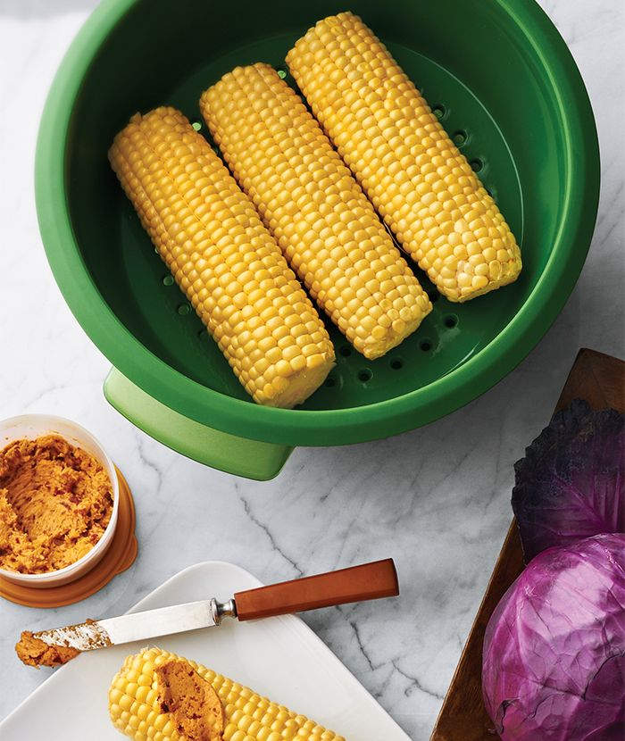 Steamed Corn on the Cob with Lime-Chipotle Butter. Steam your veggies in the #SmartSteamer to save time and retain more nutrients.