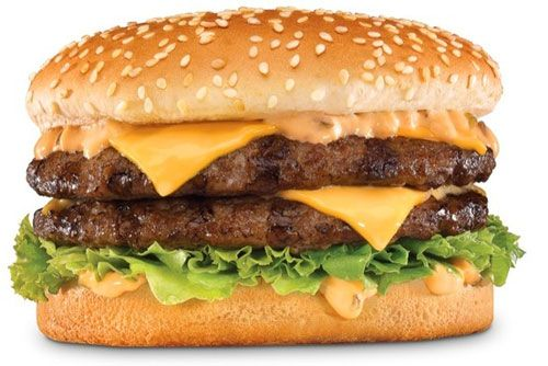 An All American Hamburger with Cheese, Mayonnaise, Ketchup and lettuce.