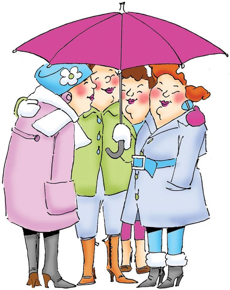 "Art Impressions UMT4010 ""Girlfriends - Under the Umbrella"" 1 Rubber Stamp 4""X3"""