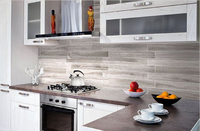Grayish brown subway tile kitchen backsplash grey subway for Grey white kitchen designs