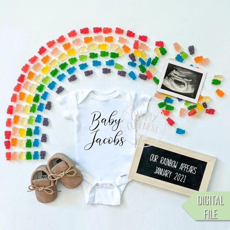 Neutral pregnancy announcement digital for social media Rainbow pregnancy announcement digital.