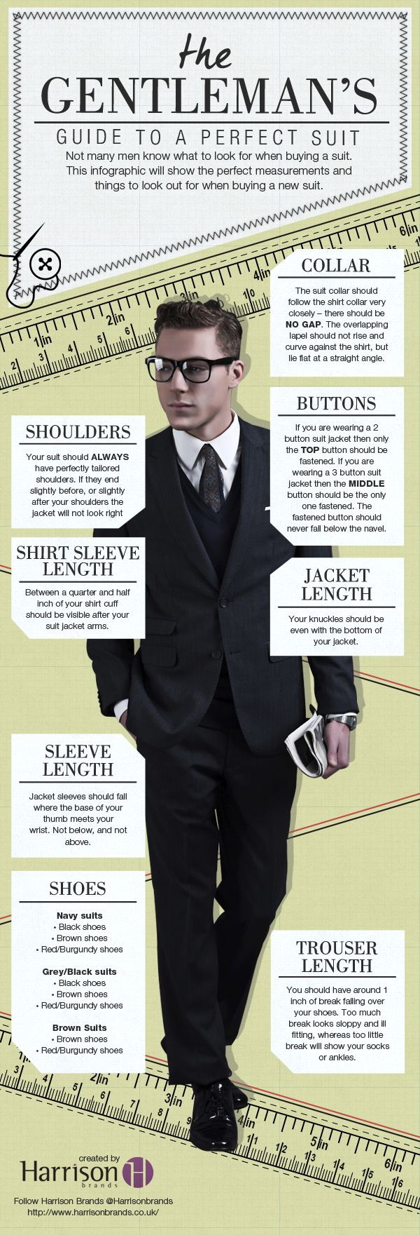 Buying a suit? We have the perfect hints and tips to help you find the perfect fit! Here you can find the perfect measurements and fitted lengths to look for when buying your new suit. #infographics