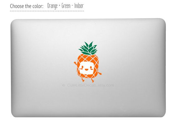 cute pineapple laptop decal laptop sticker macbook decal sticker fruit decal food decal. Black Bedroom Furniture Sets. Home Design Ideas
