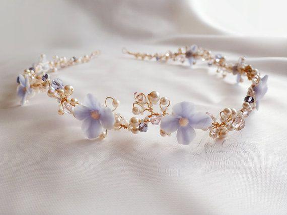 Lavender Floral Crystal Bridal Headband Lavender by LysaCreation, $225.00