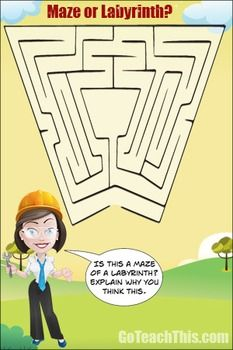 I love to put mazes and labyrinths up on my classroom walls and windows for the students to explore. This is the second in my series of posters.I've added the question 'What is the difference between a maze and a labyrinth?' onto the poster to encourage clarification of the concepts.Enjoy!!!Be sure to rate this product and provide feedback to earn TpT credits towards the purchase of future products!Let Me Send FREE Game Samples to Your Inbox to Trial ---> Send Me FREE Games  Check out the…