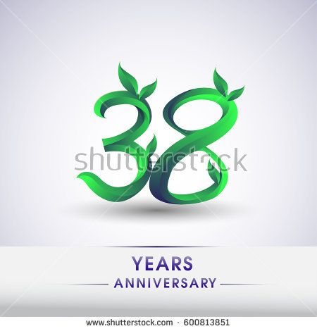 thirty eight years anniversary celebration logotype with leaf and green colored. 38th birthday logo on white background.