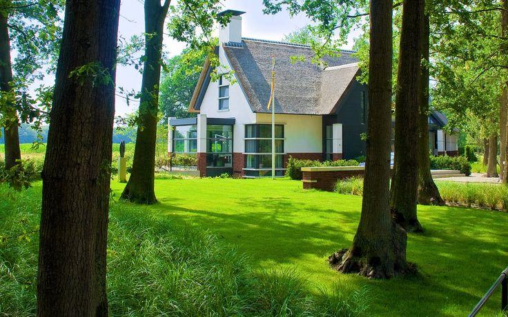 Moderne Tuin Landschap Rieten Kap Gazon Kunstwerk Entree Voortuin