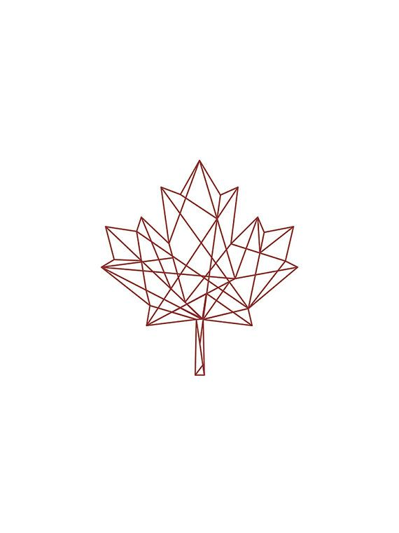 Geometric Print Red on White Geometric Maple Leaf by unikDesignCo