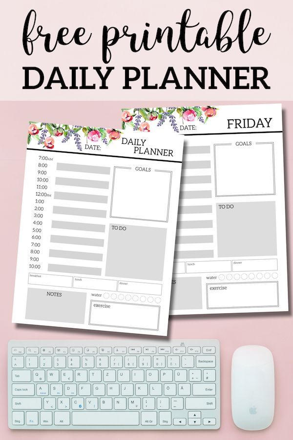 floral free printable daily planner template sheets free