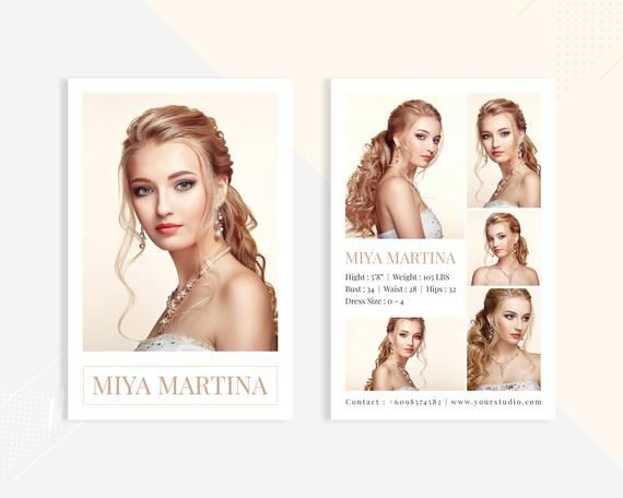 Modeling Comp Card Fashion Model Comp Card Template Photoshop Elements And Ms Word Template I Model Comp Card Model Card Template