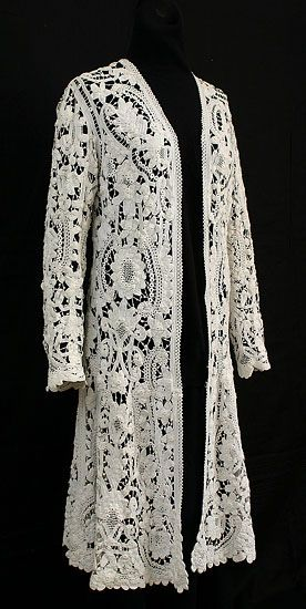 Wouldn't this make a beautiful wedding day honeymoon outfit?  Handmade Irish crocheted lace coat, c.1900
