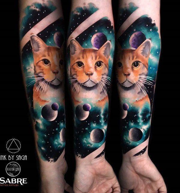 100 Examples Of Cute Cat Tattoo Cat Portrait Tattoos Cat Tattoo Cat Tattoo Designs