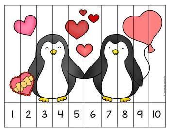 FREE VALENTINE Math Number Puzzles  -- great for February math centers and independent work. Number sequencing and skip counting.