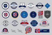 Hecho en sello de Noruega, bandera de Noruega (arte vectorial)