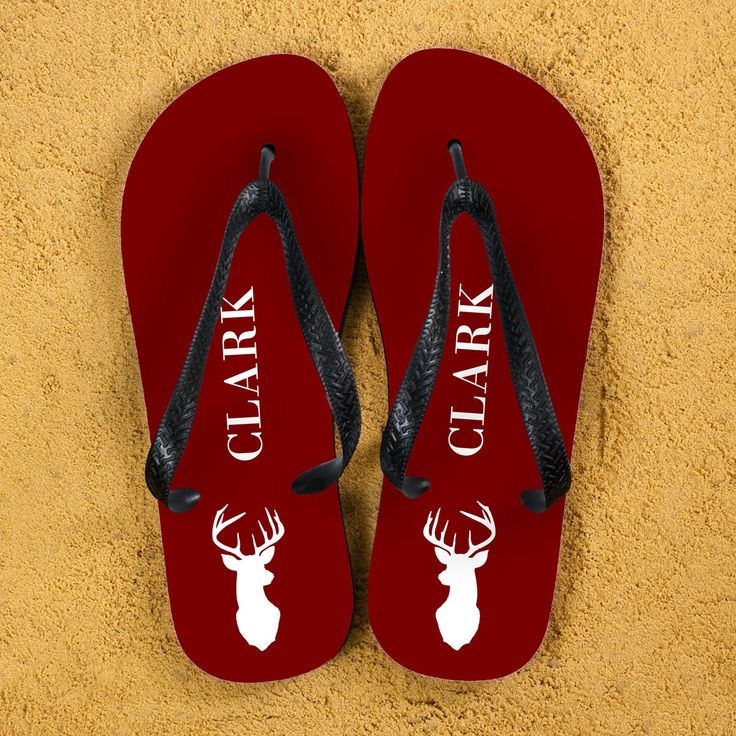 Stag Design Personalised Flip Flops in Red - yourgifthouse