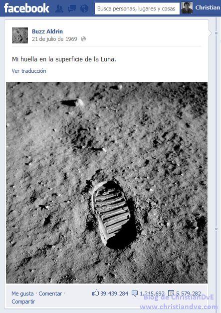 Facebook Hombre en la luna redes sociales blog de christiandve ¿Y si el hombre hubiese llegado a la Luna hoy en día con las redes sociales en auge? [Actualizado]