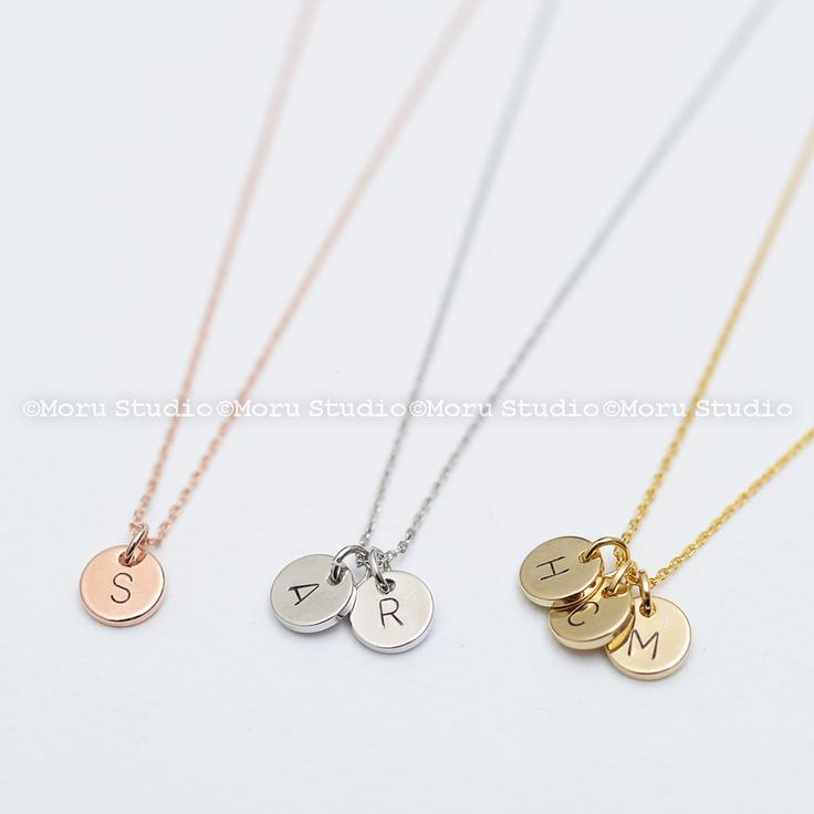 Custom Initial Disc Necklace/ Hand Stamped Letter Necklace,Rose Gold Coin Tag,Personalized Name Necklace,Teen Aunt Grandma Mommy Gift NCR053 by MoruStudio on Etsy
