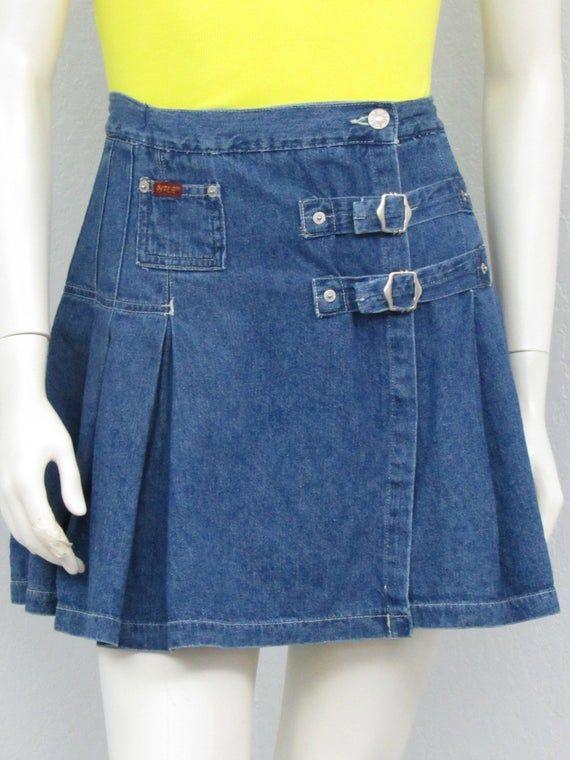 Retro Denim Skirt 90s Skirt Denim Skirt Cherry Denim Skirt 90s Denim Skirt