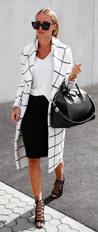 White T-Shirt, Black Pencil Skirt, Graphic Check Coat, and Lace-Up Shoes For a…