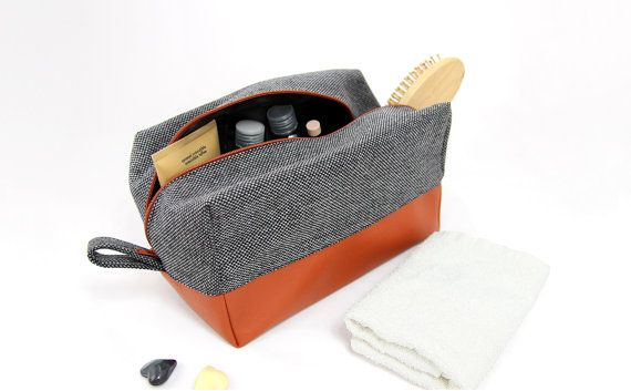 Large mens toiletry bag, Christmas gift dopp kit: vegan leather cosmetic bag for her travel toiletry bag