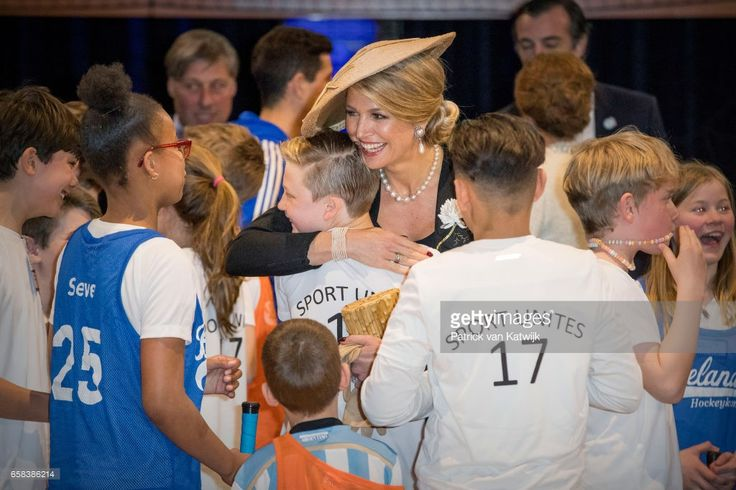 Queen Maxima of The Netherlands visit the Hockey Clinics during the Argentinean state visit in the Beurs van Berlage on March 27, 2017 in Amsterdam, The Netherlands. The President of Argentina is in the Netherlands for a two-day official state visit.