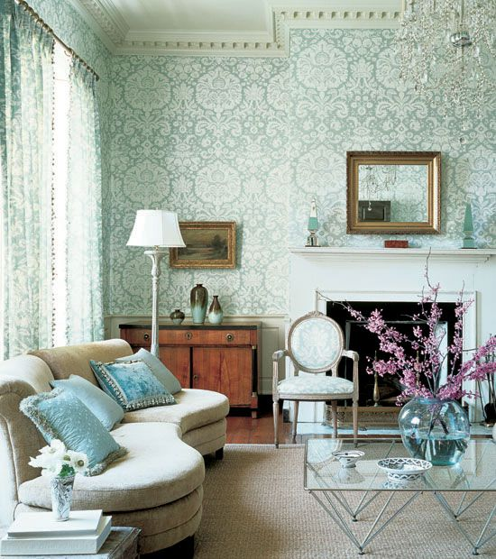 Beautiful Room With Damask Wall Paper